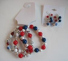Red White Blue Silver Beaded 3 Bracelet & Dangle Pierced Earrings Patriotic Set