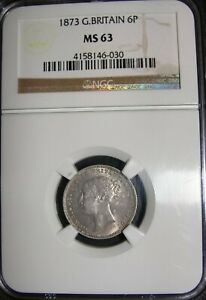 1873 Queen Victoria Silver Sixpence 6 Pence 6D NGC MS63 UNC