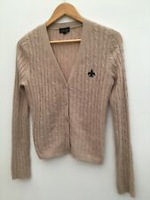 Topshop Ladies Beige Cable Knit Cardigan Angora Blend Button Down Casual Work 10