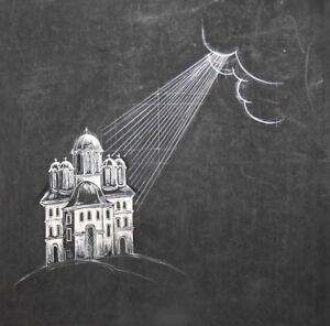 Vintage Surrealist gouache painting landscape church signed