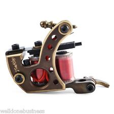 Pro Handmade 12 Wrap Coils CNC Carving Copper Tattoo Machine Shader Guns