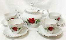 Red Rose Tea Set Japan Mogi Porcelain Teapot Cups Saucers for 4