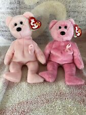 TY Beanie Babies Aware And Support Breast Cancer Awareness Bears Pink Ribbon