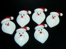 L@K Six Mini Glass Shapes Santa Mosaic Tile Gems Craft Art Flat Back Shapes