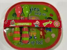 CoComelon 3 Piece Feeding Set Reversible Plate 2 Spoons JJ Brand NEW