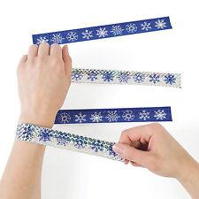12 Christmas Snowflake Metallic slap bracelets Winter Party Stocking Stuffer