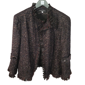 LAFAYETTE 148 NY Black Copper Gold Fringed Wool Confetti Jacket 14-16 XL TTCB