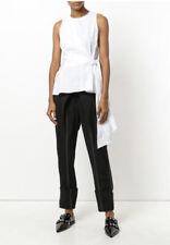3.1 PHILIP LIM Twisted Tie Front Asymmetric Peplum Sleeveless Blouse Sz 10 $295