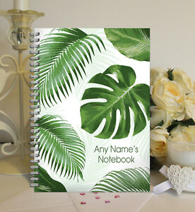 Personalised A5 Softbacked Notebook, wire bound, Tropical Leaf themed