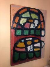 Mid Century Modern Abstract Acrylic Painting  John Kefover Wall Art Vintage