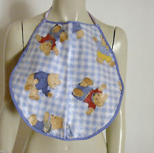 Adult Baby Bib PVC Double Sided Roleplay Sissy Fantasy Plastic Sturdy blue