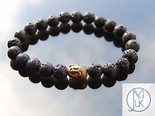 Buddha Lava Stone 2 Natural Gemstone Bracelet 7-8'' Elasticated Healing Stone