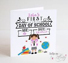 PERSONALISED GIRLS FIRST DAY AT SCHOOL Card - Daughter Granddaughter Niece