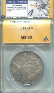 1881 S Morgan Silver $1 Dollar MS 63 ANACS certified