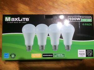 96 bulbs Maxlite LED 100 Watt Equivalent A type Light Bulb - Dimmable 2700k!!!