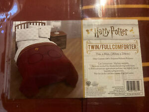 "New Harry Potter 71"" X 86"" Full/Twin Comforter Gryffindor Burgundy Scar Glasses"