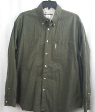 Columbia Mens Shirt Size L Green Black Check Button Up Long Sleeve