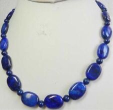Natural 6mm & 13x18mm Oval Blue Lapis Lazuli Beads Necklace 18'' AAA