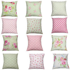 Sage Green Pink Floral Spot Clarke & Clarke Vintage Shabby Chic Cushion Cover