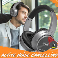 INSMA ANC Active Noise Cancelling bluetooth Headphones Headset Stereo Wireless