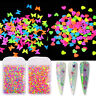Colorful Butterfly Heart Nail Glitter Sequins 3D Neon Flakes Nail Art Decoration