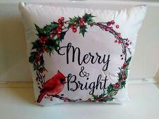 "Merry & Bright W/Cardinal 17"" x 17"" Throw Pillow Christmas Stratford Home Decor"