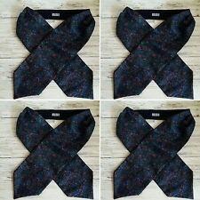 Vintage 1980's Large Navy Blue Floral and Paisley Print Men's Cravat.