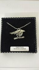 B2 Hawk fine english pewter 3D Platinum Plated Necklace Handmade 18 INCH