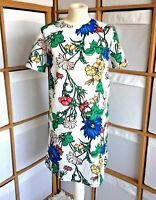 Zara Boho Bright Retro Floral Mini Dress Short Sleeves Size 10-12 Vintage Style