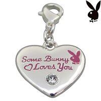 Playboy Charm Heart SOME BUNNY LOVES YOU Pink Enamel Swarovski Clip On RARE HTF