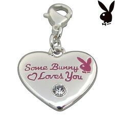 Playboy Charm Heart SOME BUNNY LOVES YOU Pink Enamel Swarovski Clip On RARE HTF
