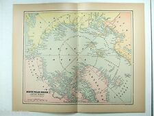 Original 1904 Map of The North Polar Region by Fisk & Co. Antique