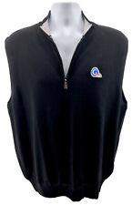 Peter Millar Mens Merino Wool 1/4 Zip Sweater Vest Sz XL Black Golf Channel $169