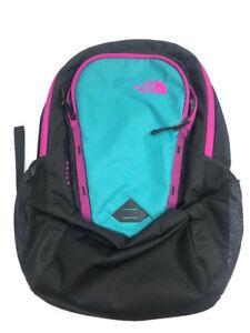 North Face Women's Vault Backpack Black Teal Pink Bookbag Girls School