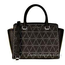 New Michael Kors Selma Medium Studded Satchel Black Handbag