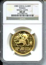 CHINA  1989 PANDA  GOLD 1 OZ  SMALL DATE  NGC MS 69  100 YUAN