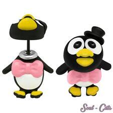 1 PAIO ORECCHINI CHIUSURA A FARFALLA pinguini uccello divertente colorato peppig