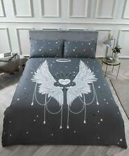 Sparkly Stars Glitter Angel Wings Grey Duvet Cover Bedding Set All Sizes FreeP&P