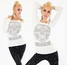 Sexy Pullover Shirt 34-38 Blogger  Pulli Totenkopf Strass 3 Farben Shirt