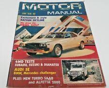 Jun 1978 MOTOR MANUAL Magazine SKYLINE Subaru Alfetta VW Golf Diesel etc
