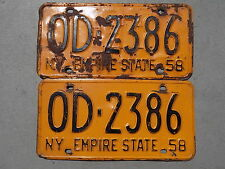 1958 New York NY Pair of License Plates OD-2386 Onondaga County The Empire State