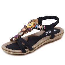 Plus size Women Beaded Sandals Clip Open Toe Flats Bohemian Summer Shoes US 11