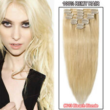 AAAA Full Head Clip in Real Remy Human Hair Extensions Highlight DIY 8PCS Weft F