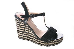 LADIES WOMENS ANKLE STRAP HESSIAN  HIGH WEDGE SUMMER SANDALS SHOES SIZE 3-8