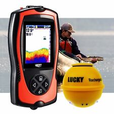 Lucky Fishfinder 45M Depth Fish Detector Wireless Transducer Boats Kayak Fishing