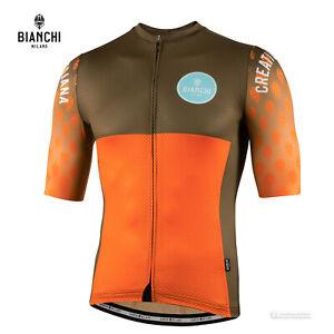 NEW 2021 Bianchi Milano TIRANO Short Sleeve Cycling Jersey : ORANGE/OLIVE GREEN