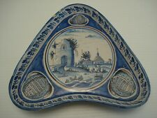 Antique FAIENCE Pottery DELFT Blue White Hand Painted Unusual Shape Footed Tray
