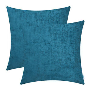 """2Pcs Deep Sea Blue Cushion Covers Pillows Shells Solid Dyed Soft Chenille 22x22"""""""