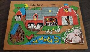 Vintage Fisher-Price 10 Piece Pick Up & Peak Puzzle Barn #2711 1971-1982 Wooden