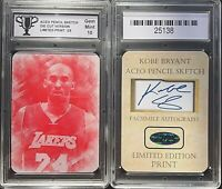 Kobe Bryant ACEO Pencil Sketch Red Tint Hologram #/25 GRADED 10 GEM